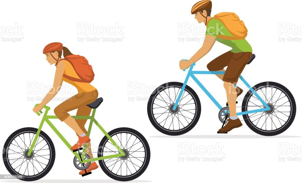 Man and Woman with backpacks traveling on mountain bikes. vector art illustration