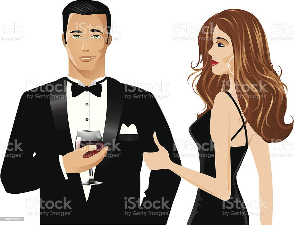 Man and Woman with brandy royalty-free stock vector art