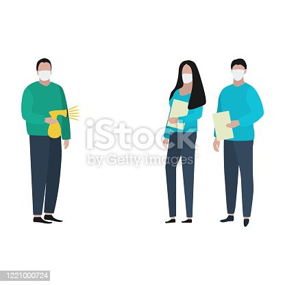 Man and woman with documents in medical masksand patient with an antiseptic spray. Fashion trendy illustration, flat design. Pandemic and epidemic of coronavirus in the world.