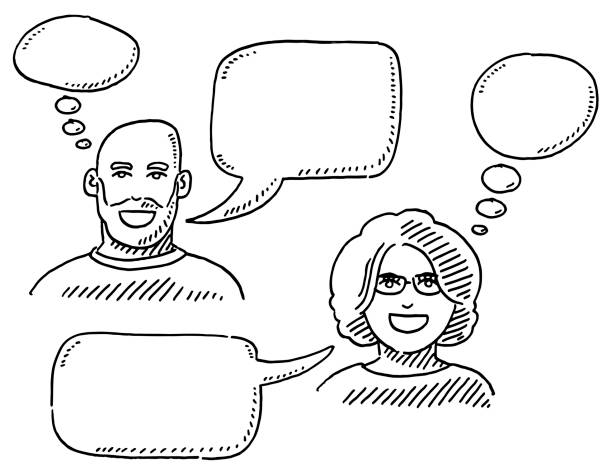Man And Woman With Empty Speech And Thought Bubbles Drawing Hand-drawn vector drawing of a Man And a Woman With Empty Speech And Thought Bubbles. Black-and-White sketch on a transparent background (.eps-file). Included files are EPS (v10) and Hi-Res JPG. women stock illustrations
