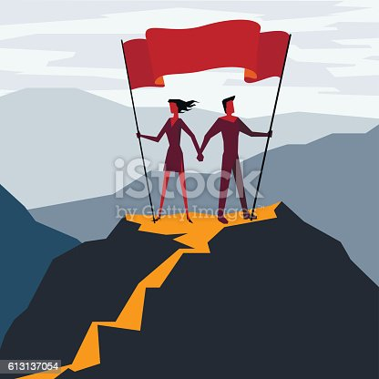Man and woman with flag on a Mountain peak, Business success concept