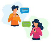 istock Man and woman with smartphones. Concept illustration, texting, messaging, chatting, social media, customer assistance, dating, communication. Bright colorful vector illustration. 1132530949