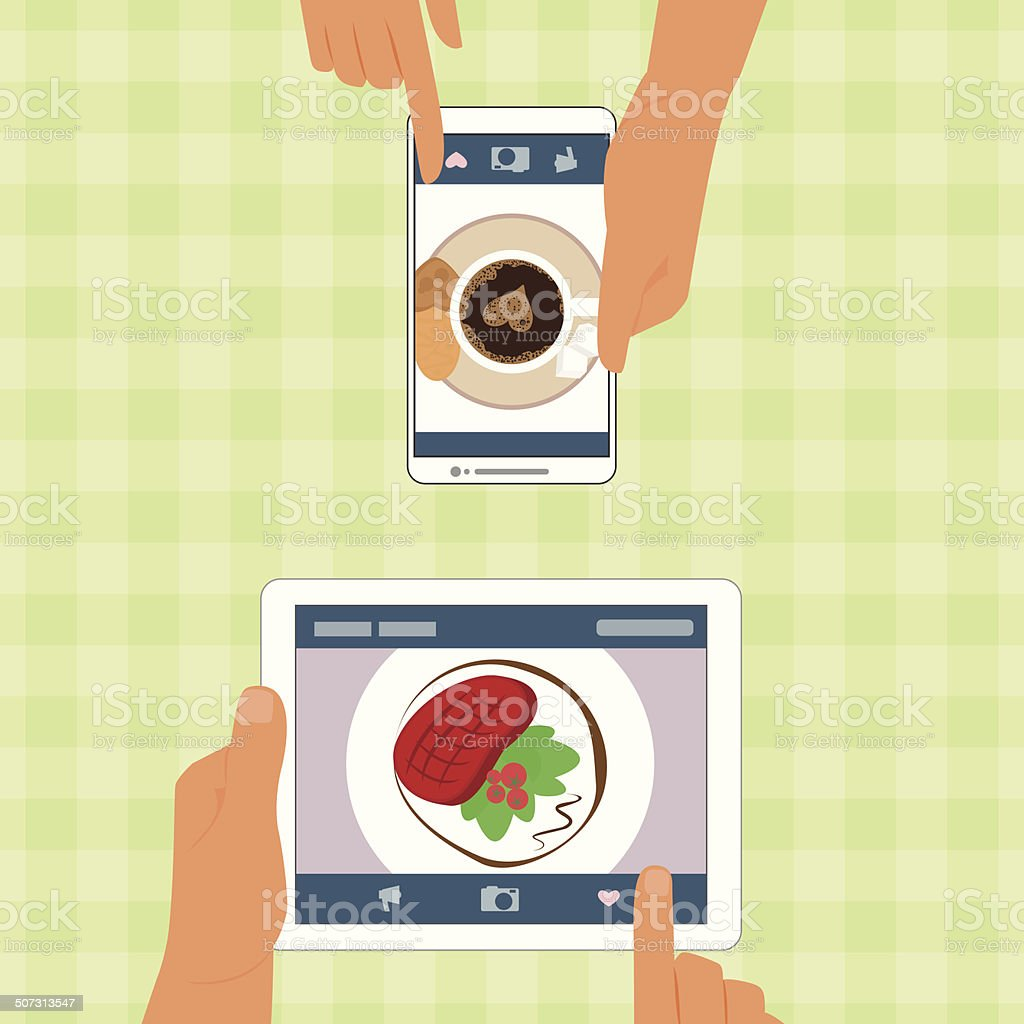 Man and woman with their food placed in gadgets vector art illustration
