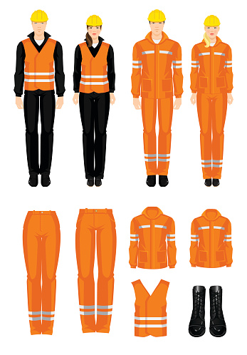 Man and woman worker in protective wear