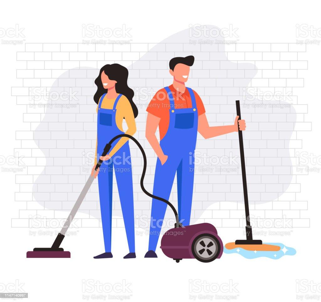 Man en vrouw werknemers karakter reiniging bedrijf service. Vector platte cartoon Graphic Design illustratie - Royalty-free Apparatuur vectorkunst