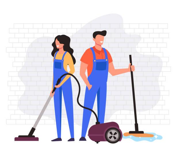 stockillustraties, clipart, cartoons en iconen met man en vrouw werknemers karakter reiniging bedrijf service. vector platte cartoon graphic design illustratie - opruimen