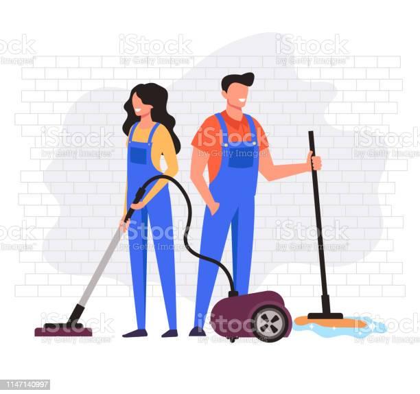 Man En Vrouw Werknemers Karakter Reiniging Bedrijf Service Vector Platte Cartoon Graphic Design Illustratie Stockvectorkunst en meer beelden van Apparatuur