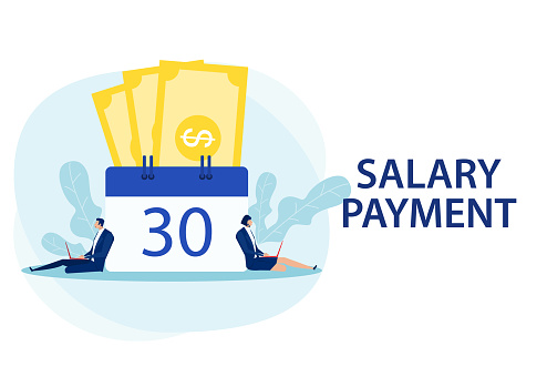 man and woman working laptop salary payment day concept vector illustrator.