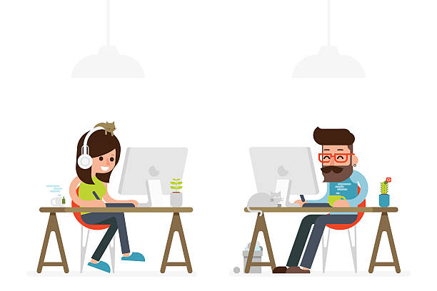 man and woman working on computer man and woman working on computer flat style cartoon. design professional stock illustrations