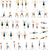 Man and woman workout fitness, aerobic and exercises.