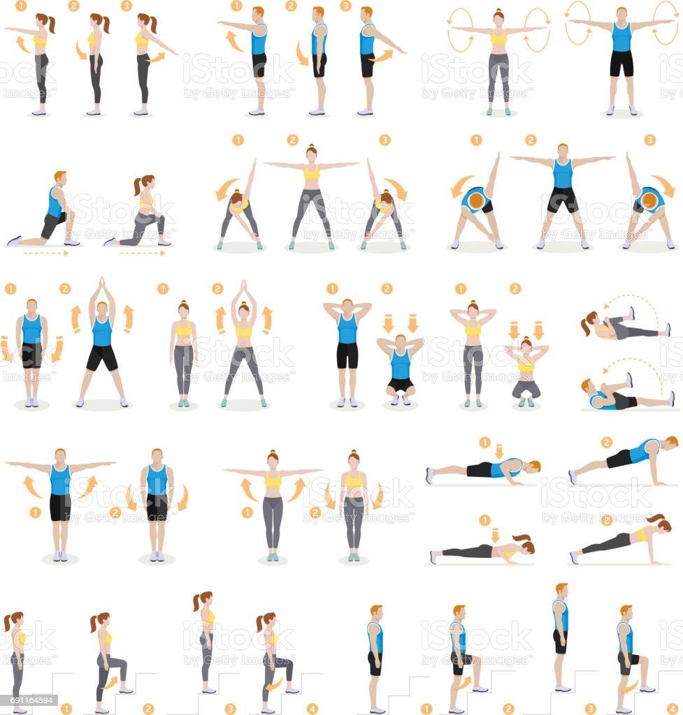 男と女のトレーニング フィットネス、有酸素と演習。 ベクターアートイラスト