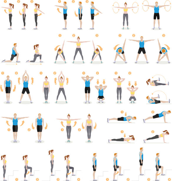 Man and woman workout fitness, aerobic and exercises. vector art illustration
