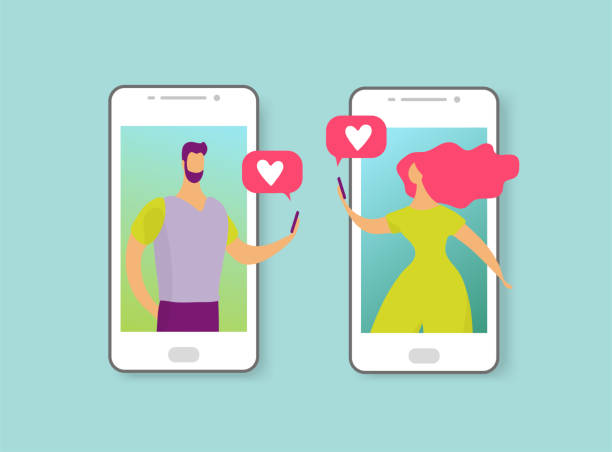 Man and woman write messages about love or date. Online dating concept. The characters on the phone screen fell in love. Flat cartoon vector illustration Man and woman write messages about love or date. Online dating concept. The characters on the phone screen fell in love. Flat cartoon vector illustration. online dating stock illustrations