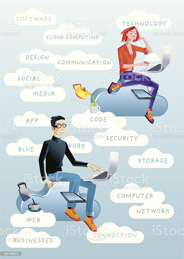 Man and Womand in Clouds with Words royalty-free stock vector art