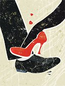 One step at a time! A stylized vector cartoon of a  Man and woman's feet playing footsie, the style is  reminiscent of an old screen print poster. Suggesting Romance, flirtation, love, attraction, seduction or temptation. Foot, City skyline, paper texture and background are on different layers for easy editing. Please note: clipping paths have been used,  an eps version is included without the path.