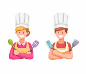 Man And Women Cooking in Kitchen Symbol illustration in Cartoon Illustration Vector on White Background