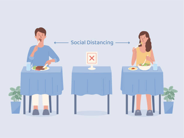 Man and Women doing social distancing while eating food alone at tables in the restaurant. Make blank space to prevent and stop Coronavirus spread in public places. Illustration about the new normal. vector art illustration