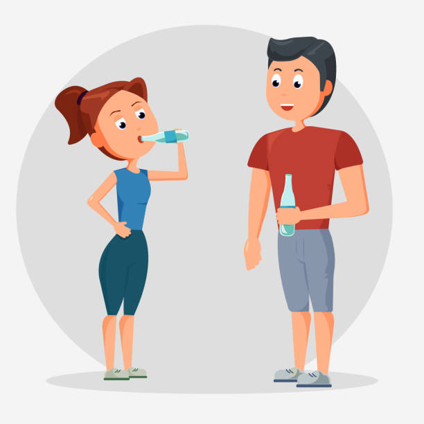 man and women drinking water, concept people drinking water for health, illustration. - personal trainer stock illustrations, clip art, cartoons, & icons