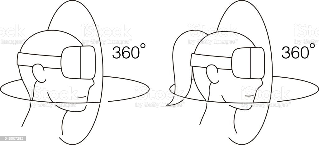 man and women wearing Virtual reality glasses. side view, playing games vector art illustration
