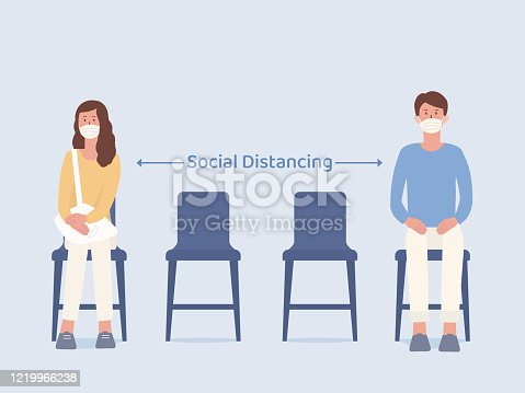 Man and Women who wearing a mask siting on a chair and make blank space for taking social distancing while waiting something. Illustration about way to prevent Coronavirus spread in public place.