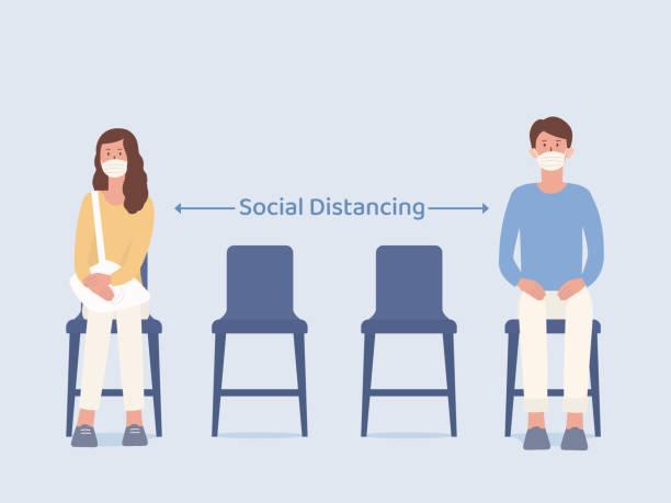 mężczyzna i kobiety, którzy noszą maskę siedząc na krześle i zrobić puste miejsce do podjęcia społecznego dystansu, czekając na coś. ilustracja na temat zapobiegania rozprzestrzenianiu się wirusa w miejscu publicznym. - krzesło stock illustrations