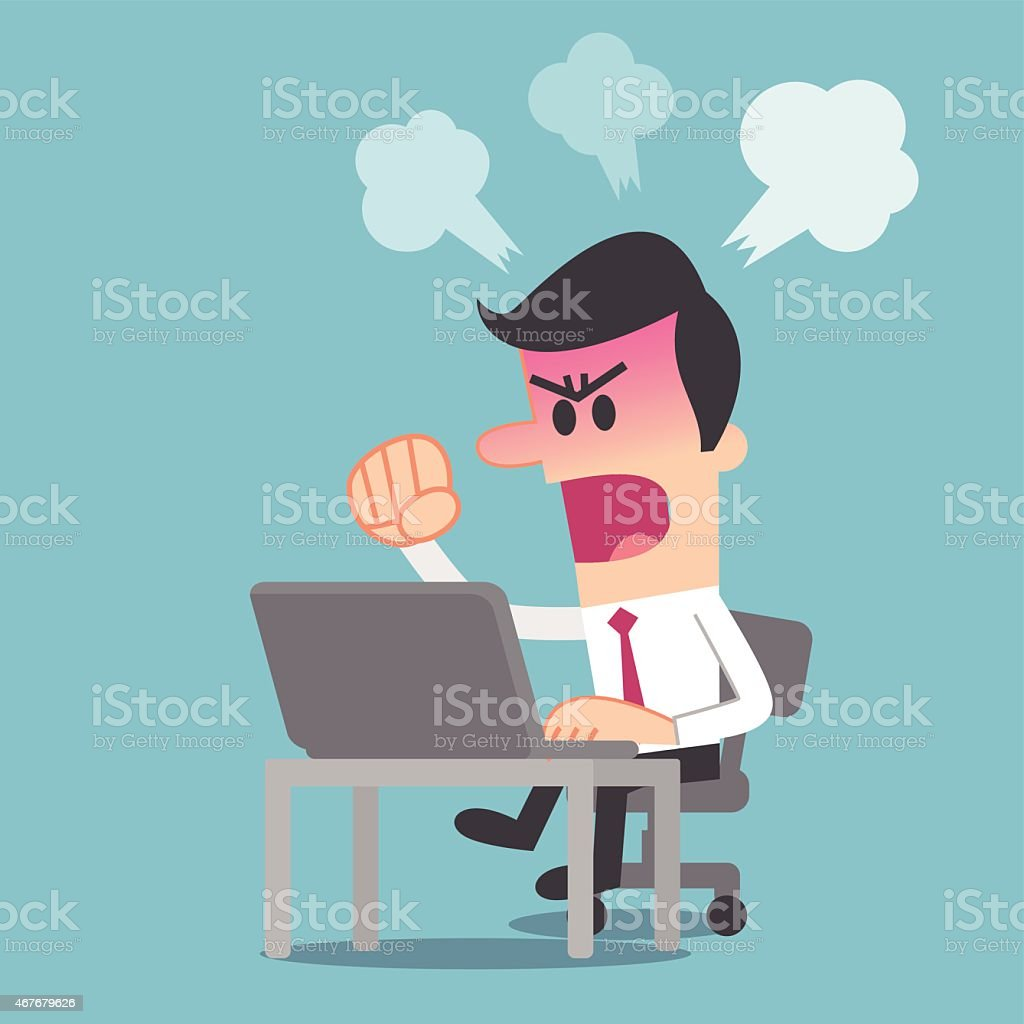 Man angry at computer vector art illustration