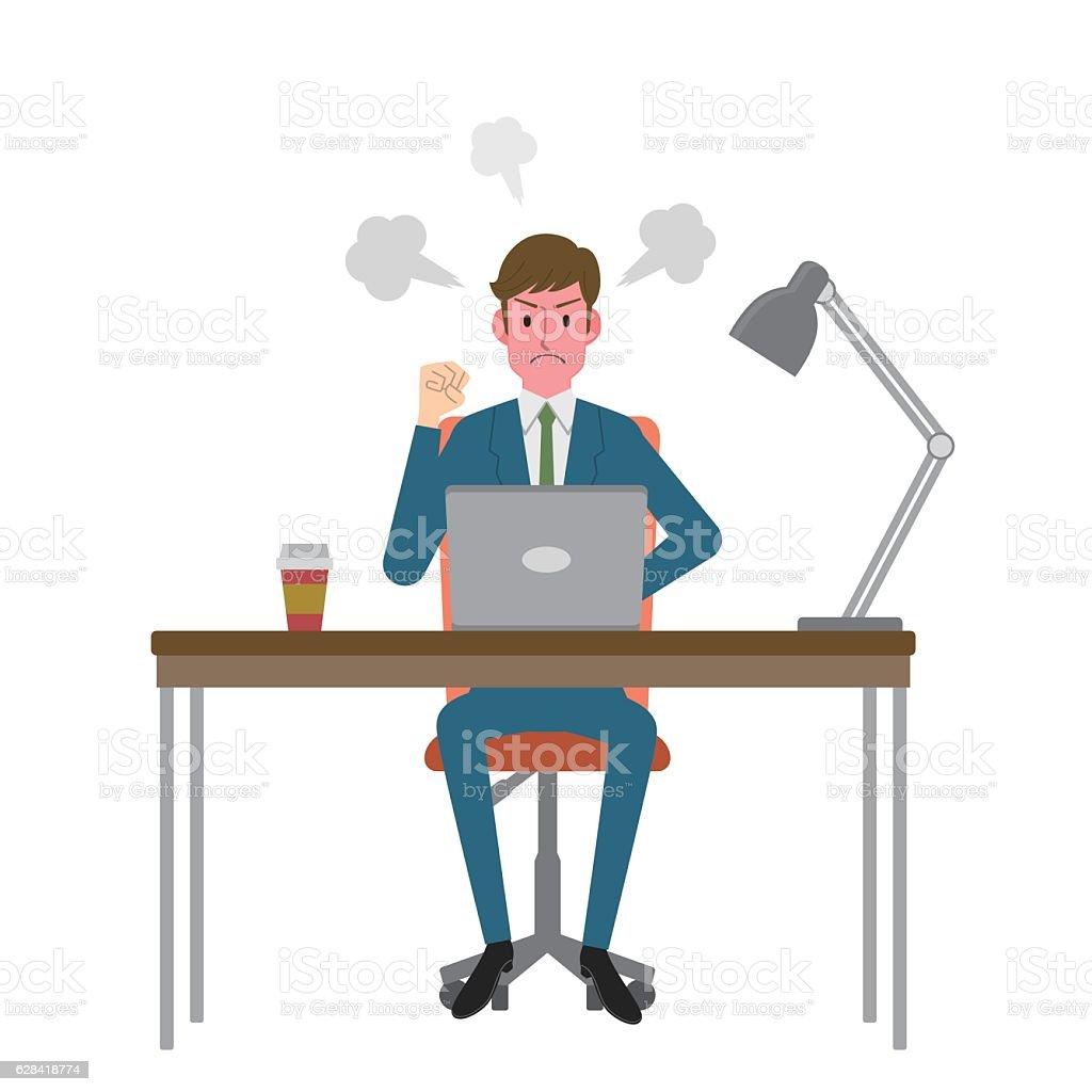 Man angry at computer vector art illustration