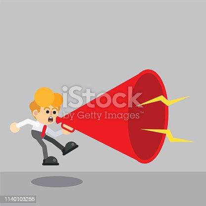 690508154 istock photo Man announcing through loudspeaker 1140103255
