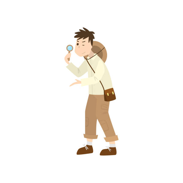 Man archaeologist. Raster illustration isolated on white background Cute cartoon character paleontologist. Man archaeologist stands and holds the magnifying glass in action pose. Isolated raster icon illustration on white background in cartoon style. adventure clipart stock illustrations