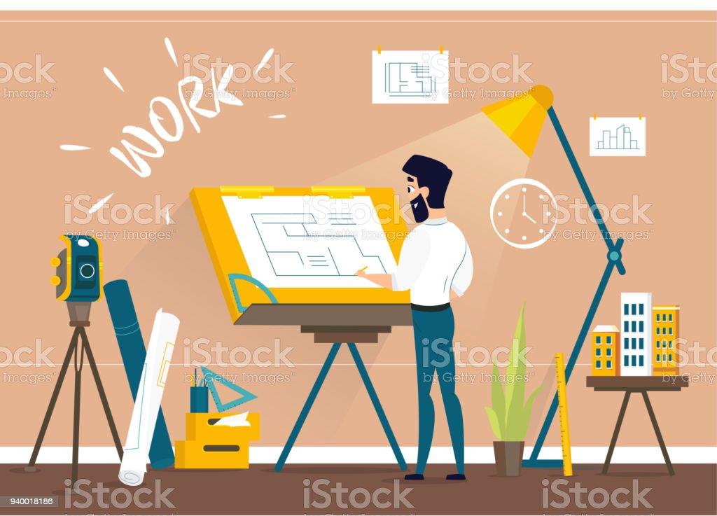 Architecte de l'homme au studio du dessinateur de dessin maison projet plan d'étage avec bureau de dessin. - Illustration vectorielle