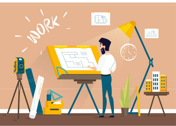 man architect drawing house project floor plan at draftsman studio with drawing desk. - architect stock illustrations, clip art, cartoons, & icons