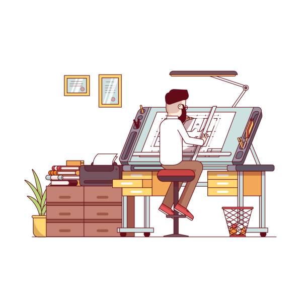 bildbanksillustrationer, clip art samt tecknat material och ikoner med man arkitekt ritade hus projekt planritning - man architect computer