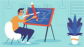 Man architect working on architecture project with drawing board