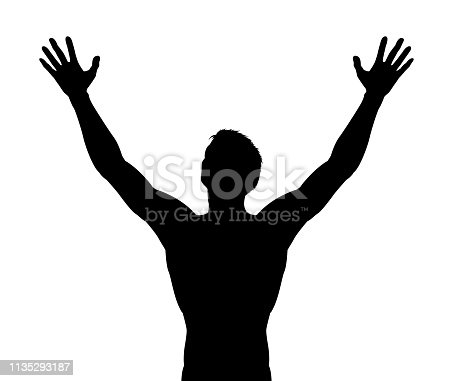 A silhouette man with arms raised in praise or triumph