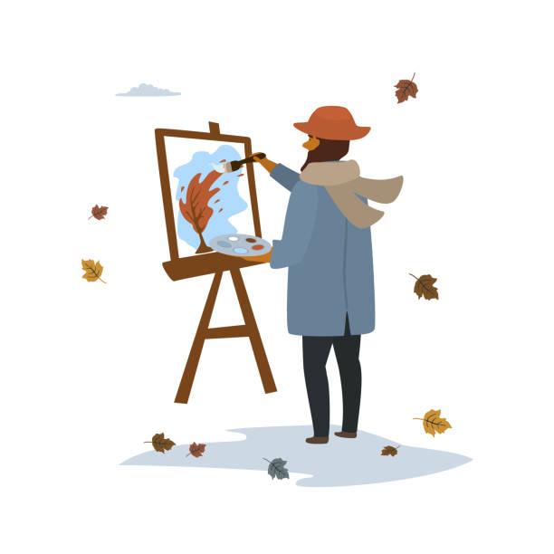 ilustraciones, imágenes clip art, dibujos animados e iconos de stock de artista de hombre pintura otoño paisaje de árbol en la escena del parque aislado vector ilustración - pintor
