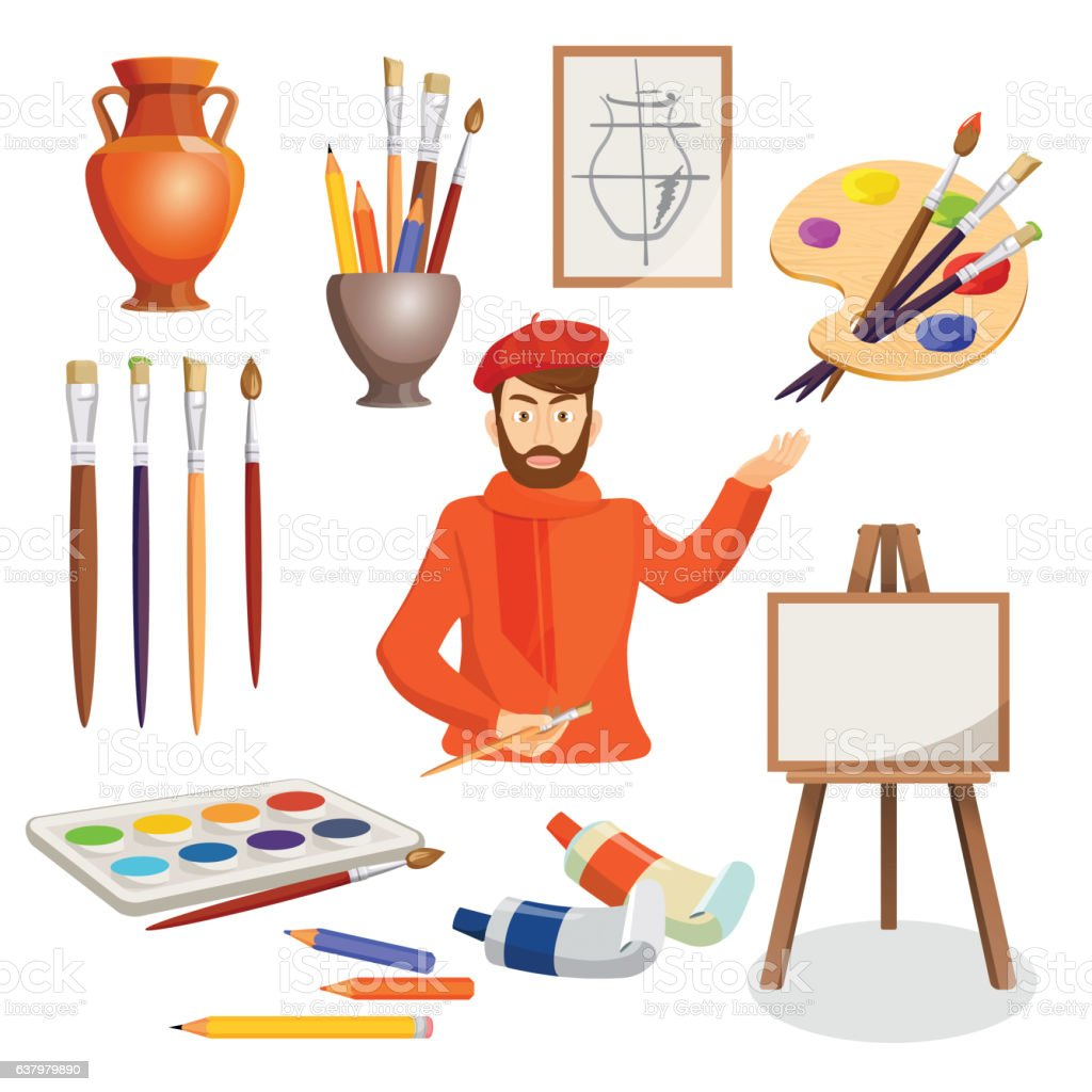 Man, artist palette, paint brushes, stand, vase. Set of paints vector art illustration
