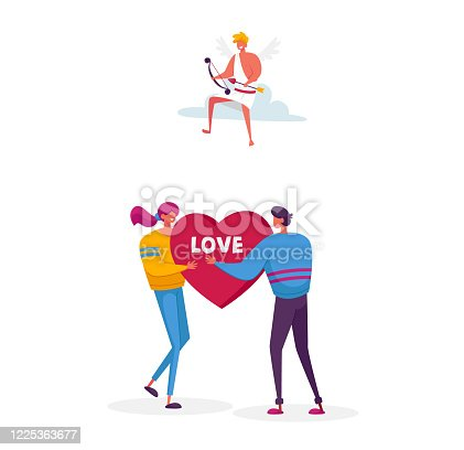 istock Man Ask Woman to Marry. Fall in Love Concept. Young Male Female Characters Share Huge Red Heart Pierced. Cheerful Cupid Sitting on Cloud in Sky with Bow Aiming to People. Cartoon Vector Illustration 1225363677