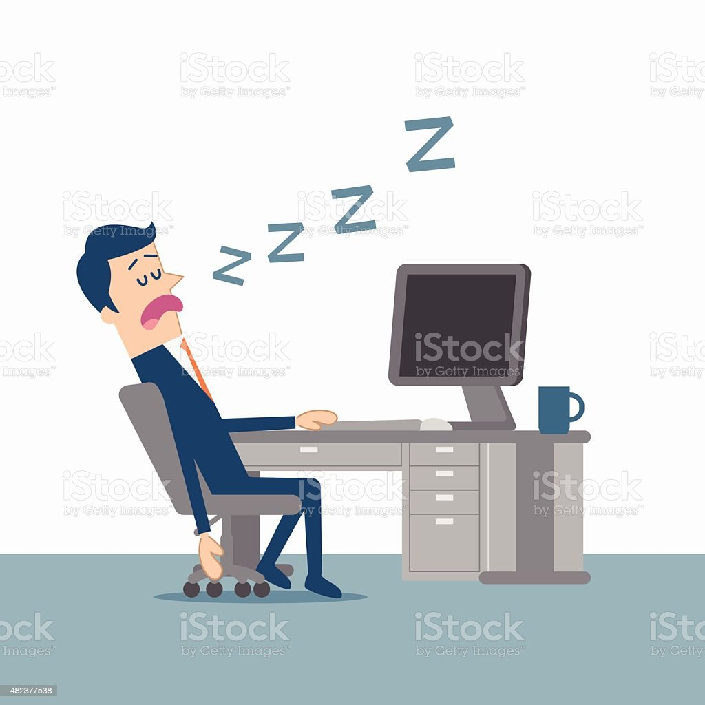 Man asleep in front of the computer vector art illustration