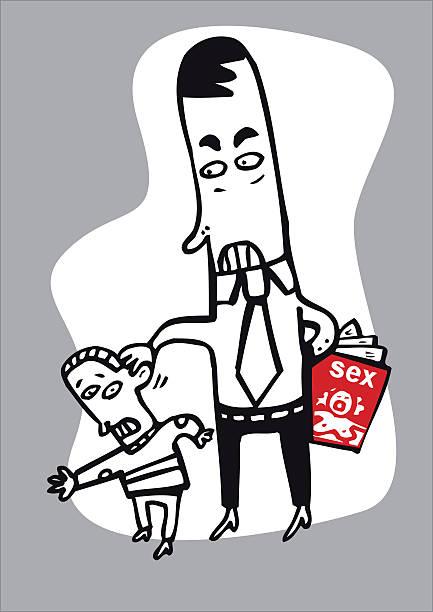Hombre assaulting menor - ilustración de arte vectorial