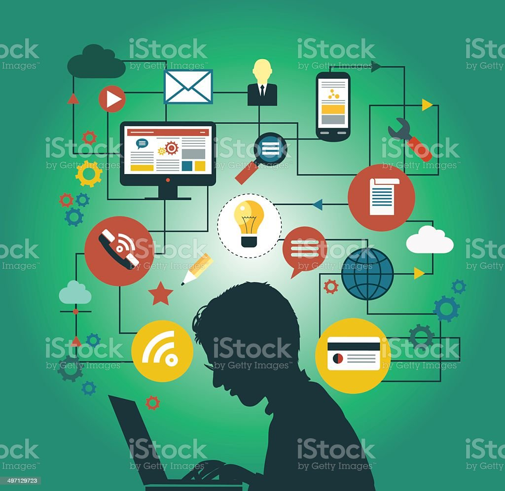 man at a computer surrounded by icons vector art illustration