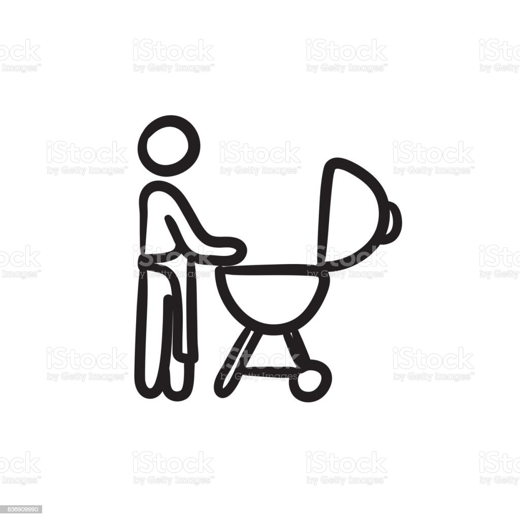 Man at barbecue grill sketch icon vector art illustration