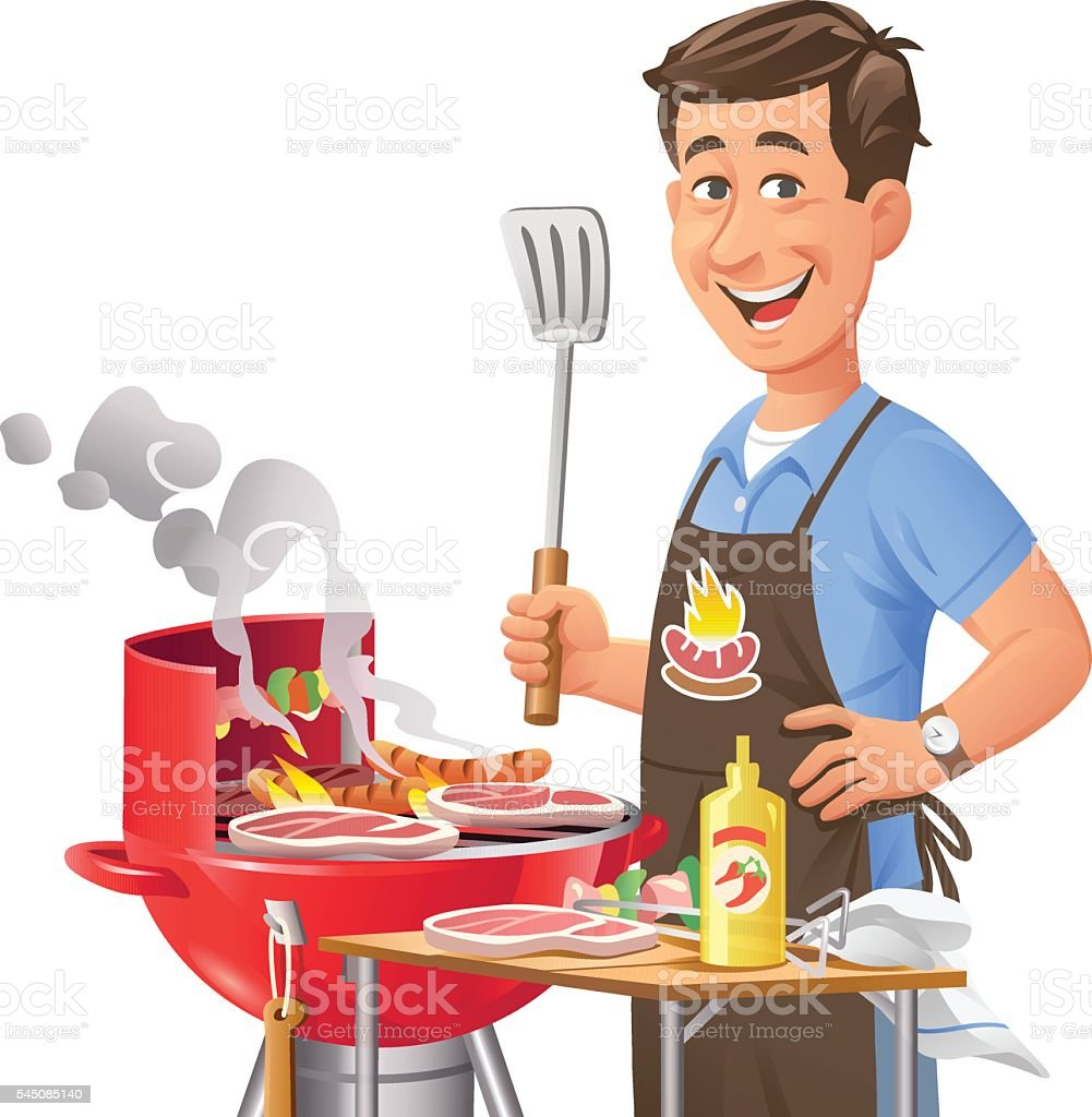 Man At Barbecue Grill vector art illustration