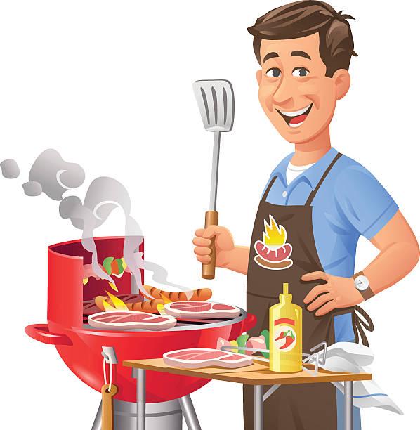 Uomo al Barbecue - illustrazione arte vettoriale