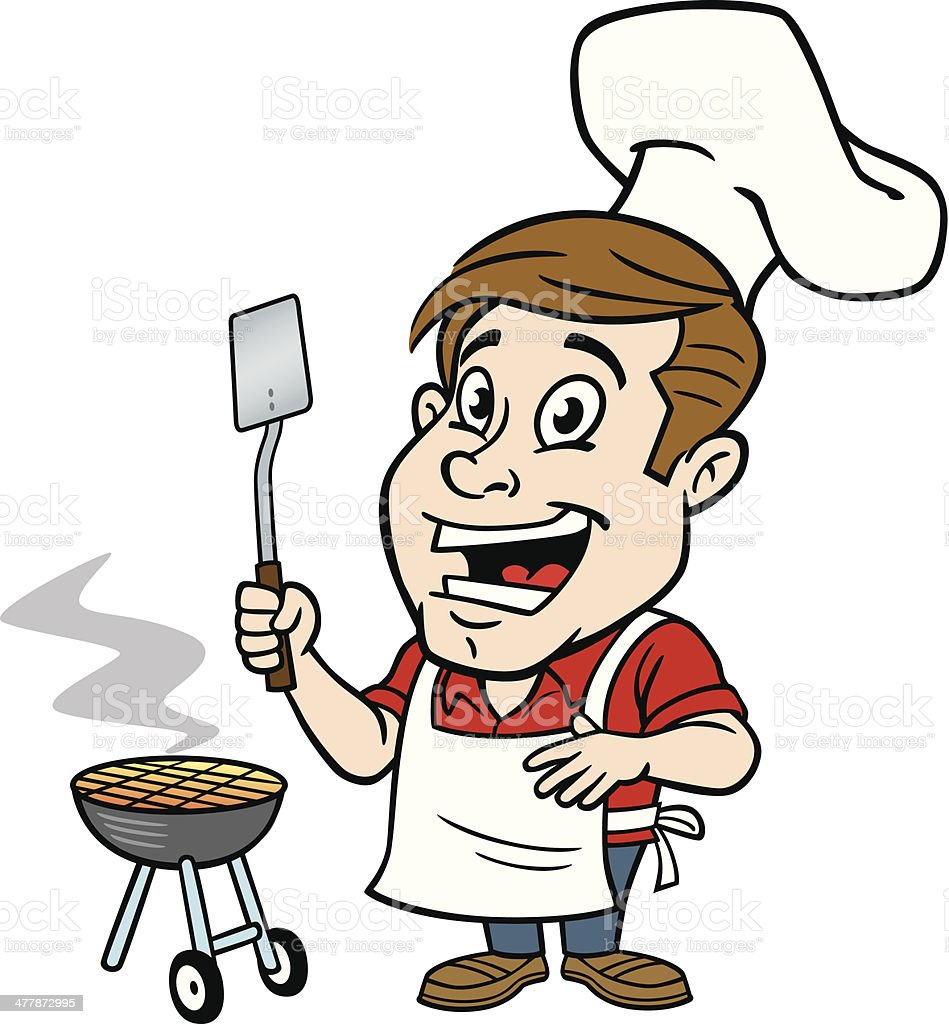 royalty free man grilling clip art vector images illustrations rh istockphoto com bbq clip art barbecue bbq clipart free