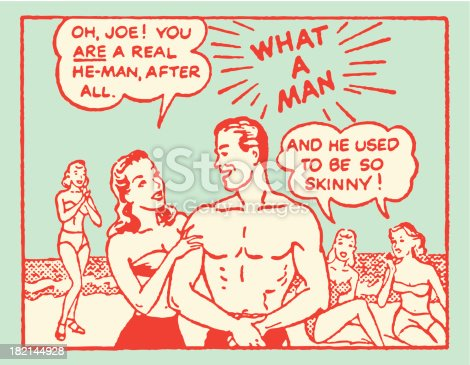 Cartoon Panel of Man who Used to Be Skinny at Beach Getting Discovered by Girls