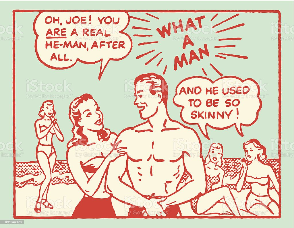 Mann am Strand sich entdeckt by Girls – Vektorgrafik