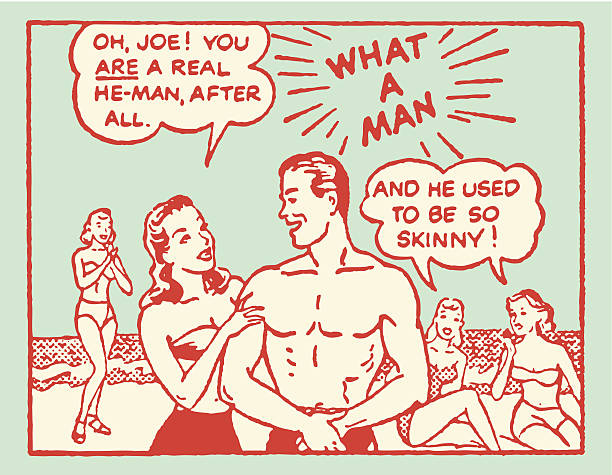 man at beach getting discovered by girls - retro comics stock illustrations, clip art, cartoons, & icons