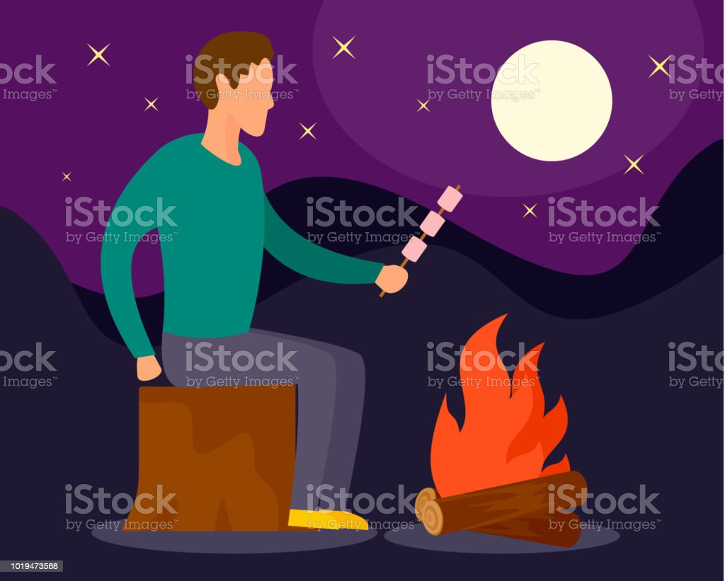 Man at camp fire in night background, flat style vector art illustration