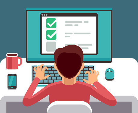 Man at computer filling online questionnaire form. Survey vector flat concept clipart