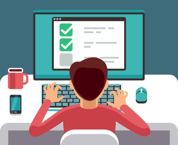 mężczyzna na komputerze wypełniający formularz kwestionariusza online. koncepcja płaskiego wektora wektora badania - ludzkie części ciała stock illustrations